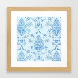 Blue Damask on Baby Blue Framed Art Print