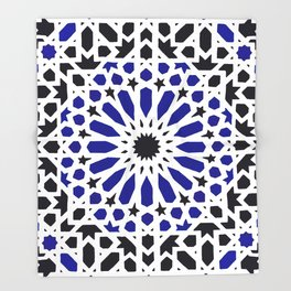 (N8) Epic Original Blue Moroccan Geometric Artwork. Throw Blanket