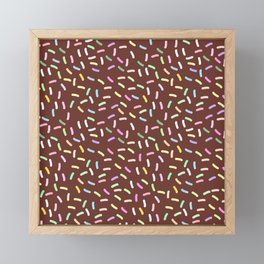 chocolate Glaze with sprinkles. Brown abstract background Framed Mini Art Print
