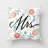 jenna kutcher Throw Pillows featuring Mrs. - Calligraphy + Watercolor Floral  by Jenna Kutcher