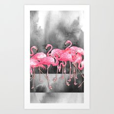 Flamingo Collage in Watercolor and Ink Art Print
