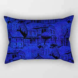 V25 Blue Architecture Design Traditional Moroccan Rug Background. Rectangular Pillow