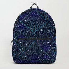 Art Deco Royal Blue Gold Christmas Pattern Backpack