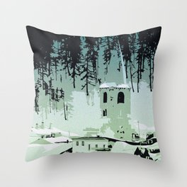 Val D'Isere in the snow Throw Pillow