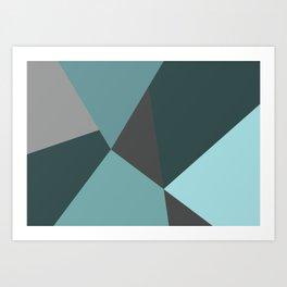 Broken Glass, blue, abstract graphic Art Print