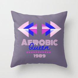 Aerobic Queen Retro 80s Geometric Typography Throw Pillow
