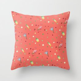 Living Coral Red Icecream print Throw Pillow