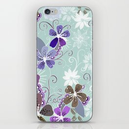 Summer blossom, blue and purple iPhone Skin
