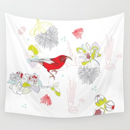 Red Ohia Lehua and Iwi Bird Wall Tapestry