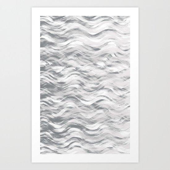 Silver Waves Art Print
