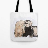 ferret Tote Bags featuring Ferret Kisses by Dannie Ann