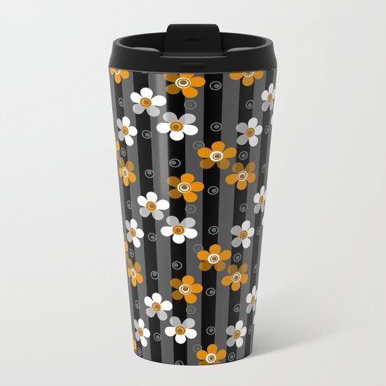 Black and yellow floral pattern on a striped background . Metal Travel Mug