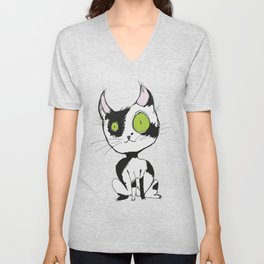 Cute black and white cat Unisex V-Neck