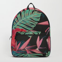 Hand drawn tropical flowers aeonium and heaven bird flower exotic pattern Backpack