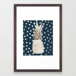 Gold Pineapple Polka Dots 2 Framed Art Print