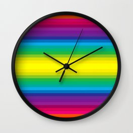 Rainbow Stripes I Wall Clock
