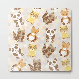 Funny cute raccoon, panda, fox, cat on dot background Metal Print