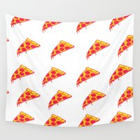 pizza Wall Tapestries featuring Pizza by Madi Es