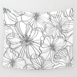 Line Art, Floral Prints, Charcoal and White, Minimal Art Wall Tapestry