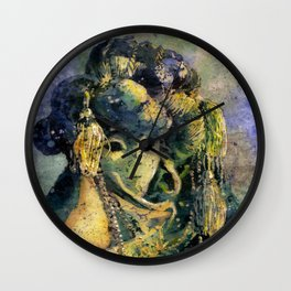 Fine art watercolor painting of elaborately dressed masked person during Carnival in Venice, Italy Wall Clock
