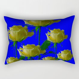 IVORY WHITE LONG STEMMED ROSES ON BLUE Rectangular Pillow