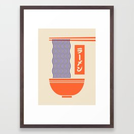 Ramen Japanese Food Noodle Bowl Chopsticks - Cream Framed Art Print