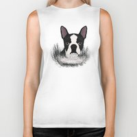 boston terrier Biker Tanks featuring Boston terrier by Nir P