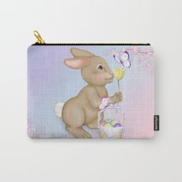 Brown Bunny and Basket Carry-All Pouch