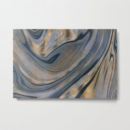 Shiny Marble Gemstone Blue Copper Metal Print