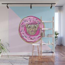 Albino Pug Strawberry Donut Wall Mural