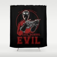 evil Shower Curtains featuring Evil School of Evil by Crumblin' Cookie