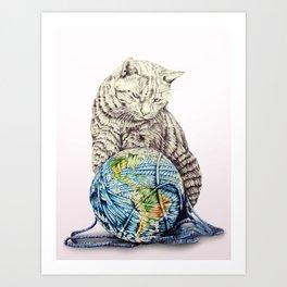 In which our feline deity shows restraint  Art Print