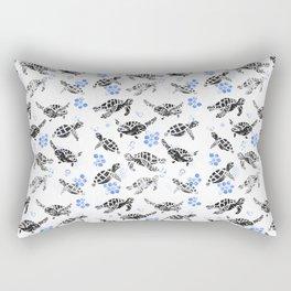 Black turtle print on white Rectangular Pillow