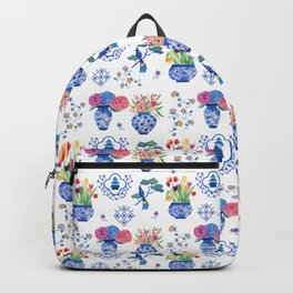 China vases and flowers pattern Backpack