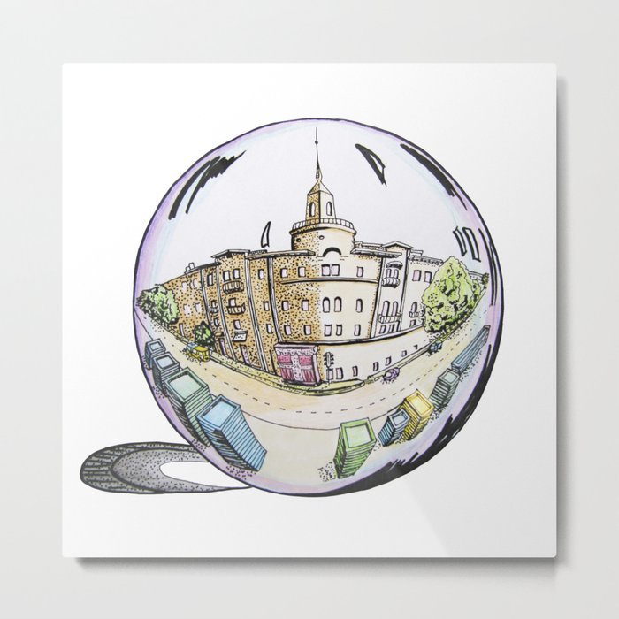 the city painted in pastel colours and in a bowl Metal Print