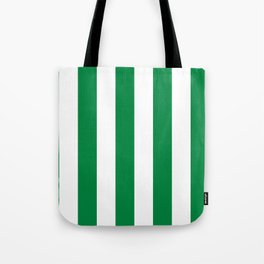 Classic Cabana Stripes in White + Kelly Green Tote Bag