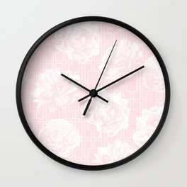 Rose Garden Pink Flamingo on White Mid-Century Lattice Wall Clock