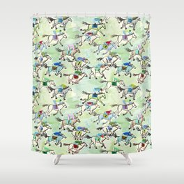 Off to the Horse Races Shower Curtain