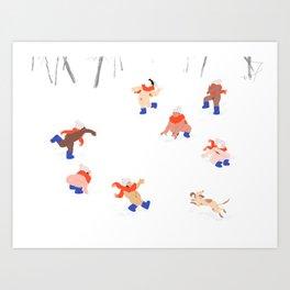 Nudist Snowball Fight Art Print