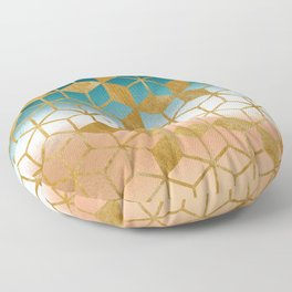 Golden Cubes Floor Pillow