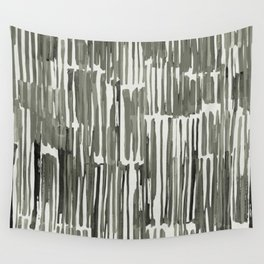 Simply Bamboo Brushstroke Green Tea on Lunar Gray Wall Tapestry