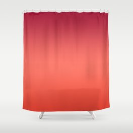 Living Coral Fiesta Jester Red Gradient Ombre Pattern Shower Curtain