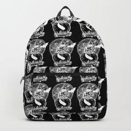 Black Cat Cauldron Wood Caring Illustration in Black Backpack
