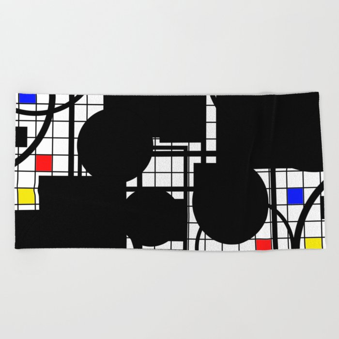 Colour Relationships - Black, white, red, yellow, blue, geometric abstract artwork Beach Towel