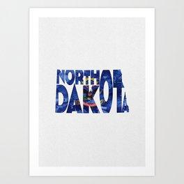 North Dakota Typographic Flag Map Art Art Print