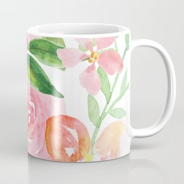 Delicate pink and yellow watercolor flowers pattern Coffee Mug