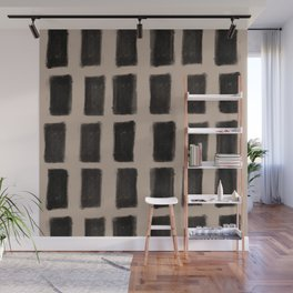 Brush Strokes Vertical Lines Black on Nude Wall Mural