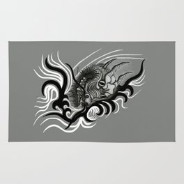 Dragon in Tattoostyle , black - white and grey Design Rug