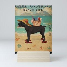 Beach Life Sandy Toes Cane Corso dog Funny quotes gift Mini Art Print
