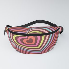 multi-colored rainbow heart on dark brown background. 3D Fanny Pack